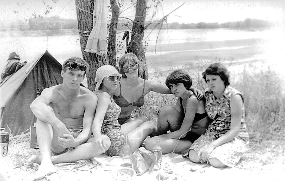 Young Russians relaxing at the beach during mid 1970's.