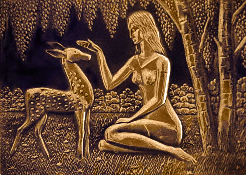 Russian Girl with Deer, a good example of Russian copper art