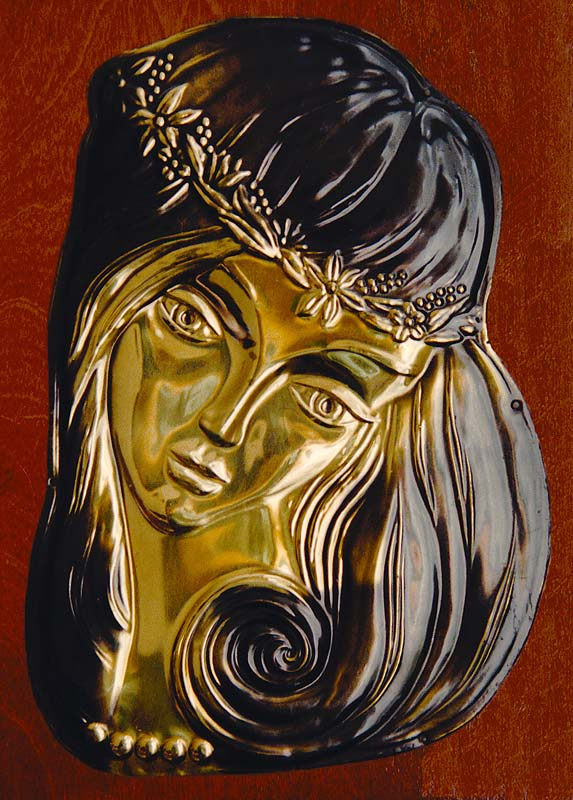 Portrait of Russian Girl, a good example of Russian copper art