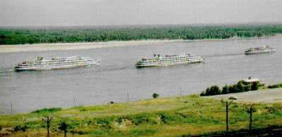 The Volga River with Boats in Summer